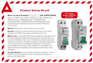 Recalled Mack & Lanson RCBO
